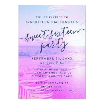 Small Beach Pink Filter Tropical Summer 16th Birthday Invitation Front View