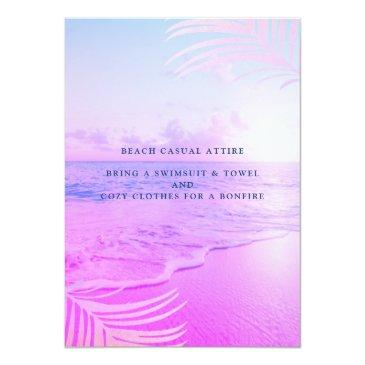Small Beach Pink Filter Tropical Summer 16th Birthday Invitation Back View