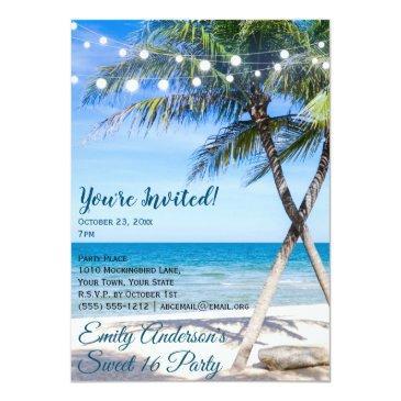 Small Beach String Light Palm Tree Sweet 16 Birthday Invitation Front View
