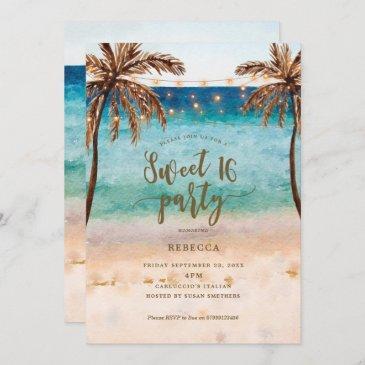 beach tropical modern sweet 16 invitation