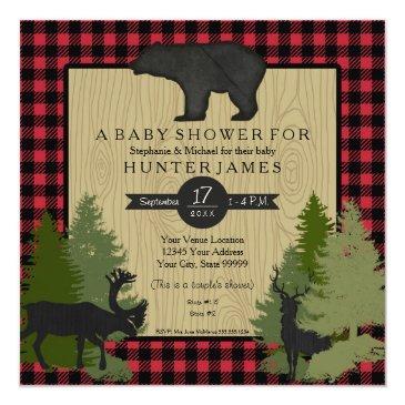 bear woodland forest lumberjack plaid baby shower invitation