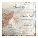 beautiful mermaid vintage sweet 16 birthday invite