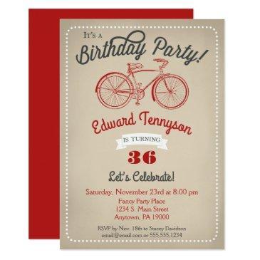 bicycle birthday invitation mens boys vintage bike