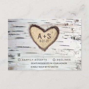 birch tree bark rustic country wedding rsvp invitations