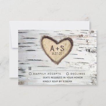 birch tree bark rustic country wedding rsvp invitations