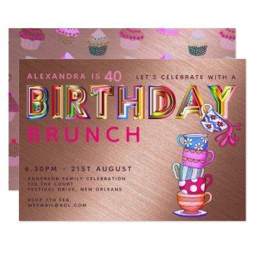birthday brunch rose gold - any age invites
