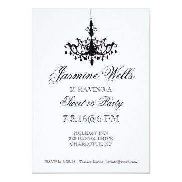 Small Birthday Party Invite | Chandelier |metallic Front View
