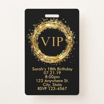 birthday vip pass badge invitation