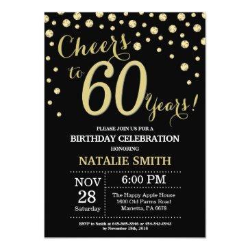 black and gold 60th birthday diamond invitation