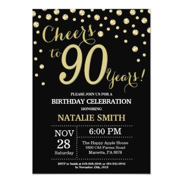 Small Black And Gold 90th Birthday Diamond Invitation Front View