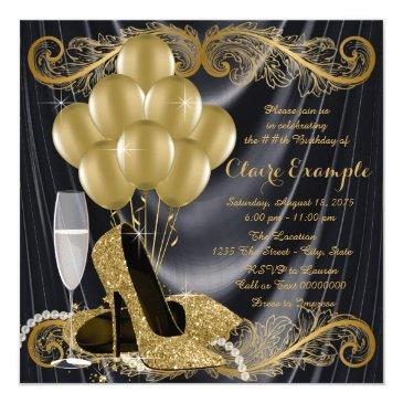 Small Black And Gold Birthday Party Hollywood Glamour Invitations Front View