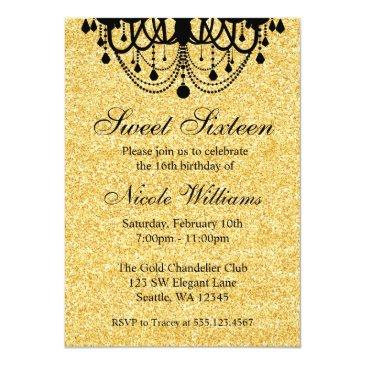 Small Black And Gold Chandelier Sweet 16 Birthday Invitations Front View