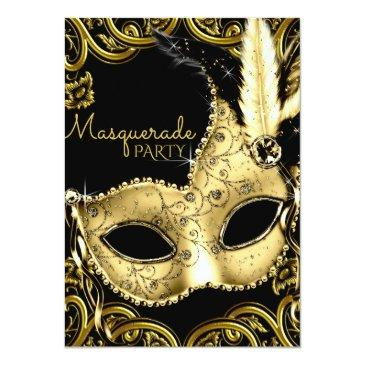 Small Black And Gold Feather Mask Masquerade Party Invitations Front View