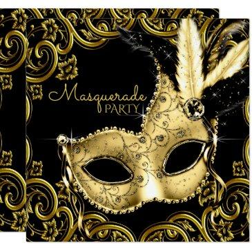 black and gold feather mask masquerade party invitations