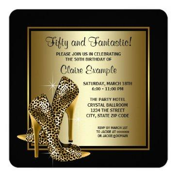 black and gold high heels womans birthday party invitation