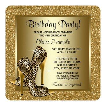 black and gold leopard high heel birthday party invitations