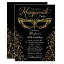 black and gold masquerade mask party invitation