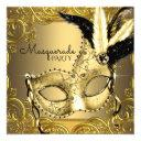 black and gold masquerade party invitations
