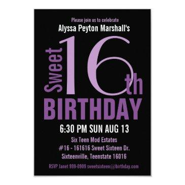 black and purple modern text sweet 16th party invitation