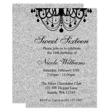 black and silver chandelier sweet 16 birthday invitation