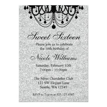 black and silver chandelier sweet 16 birthday invitations