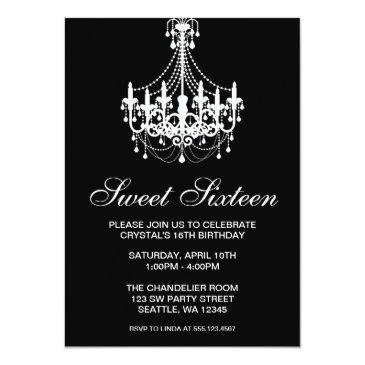 Small Black And White Chandelier Sweet Sixteen Birthday Invitations Front View
