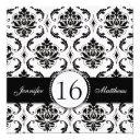 black and white damask sweet sixteen invitations