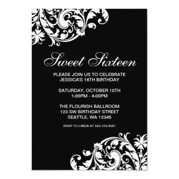 Small Black And White Swirl Flourish Sweet 16 Birthday Front View