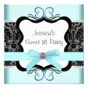 black damask teal black sweet 16 birthday party invitation