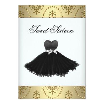 Small Black Dress Gold Chandelier Sweet Sixteen Birthday Front View
