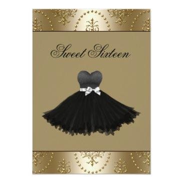 Small Black Dress Gold Chandelier Sweet Sixteen Birthday Invitation Front View