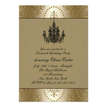 Small Black Dress Gold Chandelier Sweet Sixteen Birthday Invitation Back View