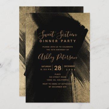 black gold brushstrokes typography sweet 16 invitation