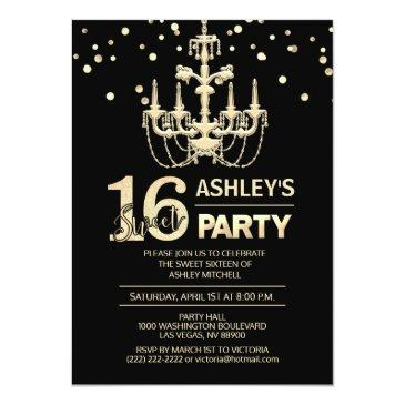 black gold chandelier sweet sixteen 16 party invitation