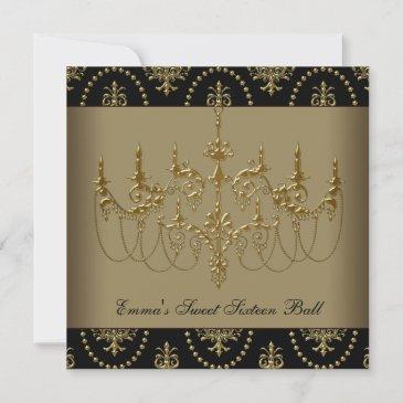 black gold chandelier sweet sixteen ball invitation