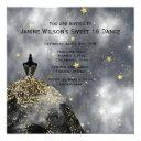 black gown gold black sweet16 birthday invitation