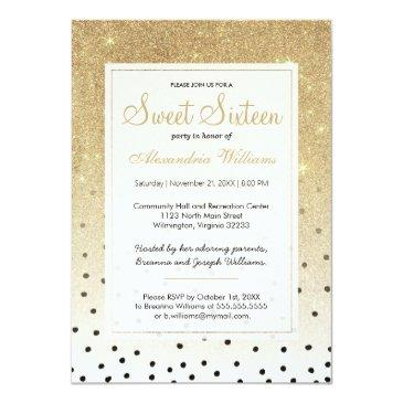Small Black Polka Dots Faux Gold Ombre Glitter Sweet 16 Invitations Front View