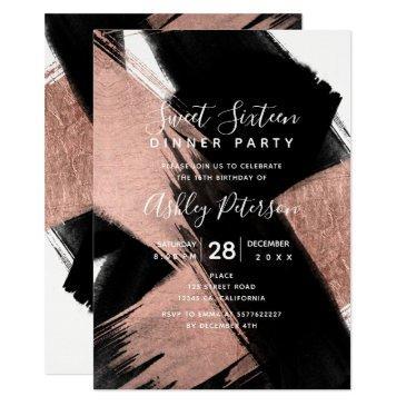black rose gold brushstrokes typography sweet 16 invitation