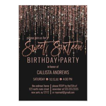 Small Black Rose Gold Glitter Fringe Curtain Sweet 16 Invitation Front View