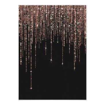 Small Black Rose Gold Glitter Fringe Curtain Sweet 16 Invitation Back View