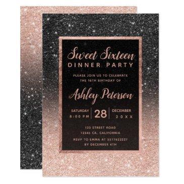 black rose gold glitter typography sweet 16