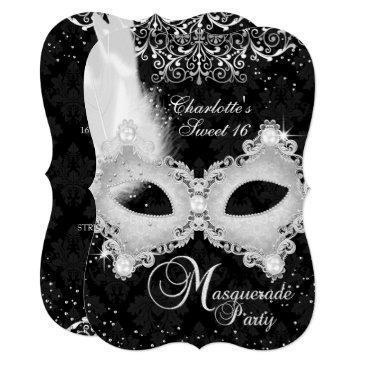 black silver damask mask masquerade sweet 16 invitations