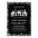 black silver glitter diamond sweet 16 sixteen invitation