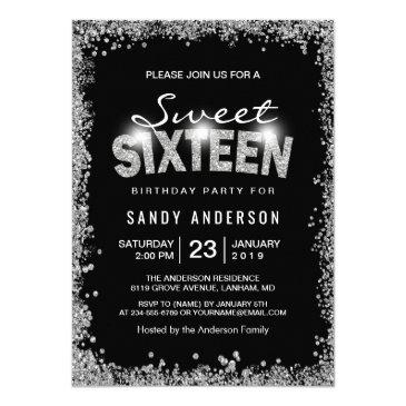 black silver glitter diamond sweet 16 sixteen invitation