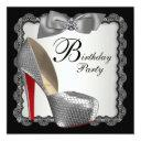 black & silver high heel shoe birthday party invitations