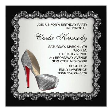Small Black & Silver High Heel Shoe Birthday Party Invitations Back View