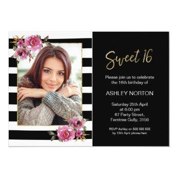 black striped floral sweet 16 birthday invitation