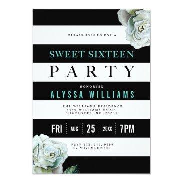 black white and teal roses sweet 16 party invitations
