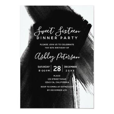 Small Black White Brushstrokes Typography Sweet 16 Invitations Front View