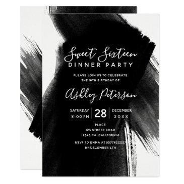 black white brushstrokes typography sweet 16 invitation